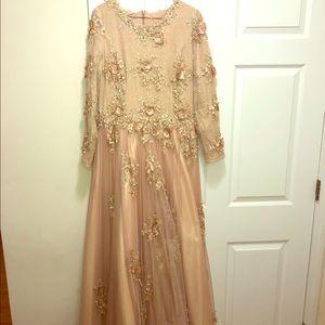 Handmade Long Sleeve Floor Length Evening Gown